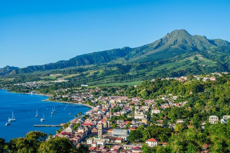 Saint Pierre Caribbean bay in Martinique beside Mount Pelée volcano stock photography