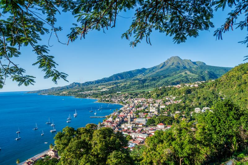 Saint Pierre Caribbean bay in Martinique beside Mount Pelée volcano royalty free stock photography