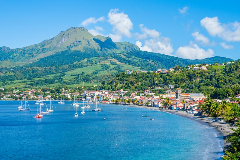 Saint Pierre Caribbean bay in Martinique beside Mount Pelée volcano royalty free stock photo
