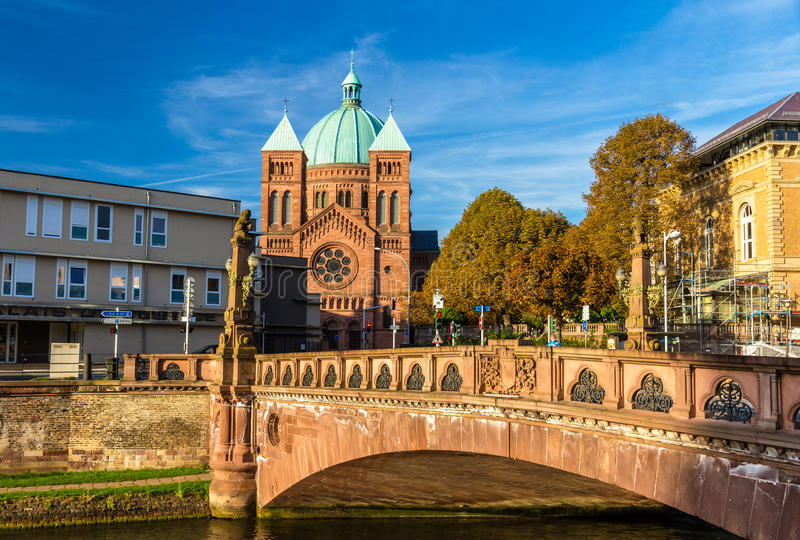 View of Saint-Pierre-le-Jeune church in Strasbourg royalty free stock photos