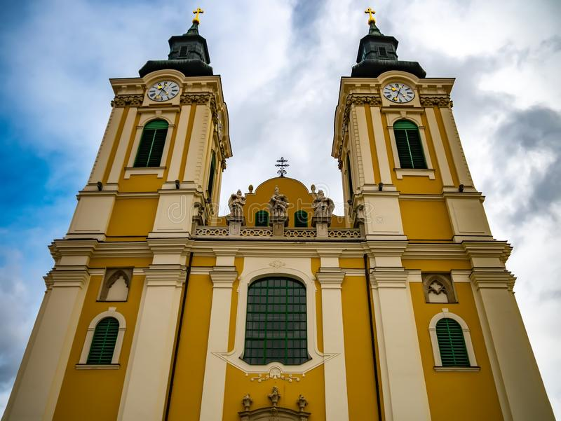 View on the Saint stephens Basilica in Szekesfehervar stock images