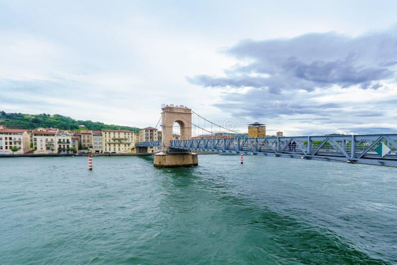 Sainte-Columbe suspension bridge over the Rhone river, in Vienne stock photos
