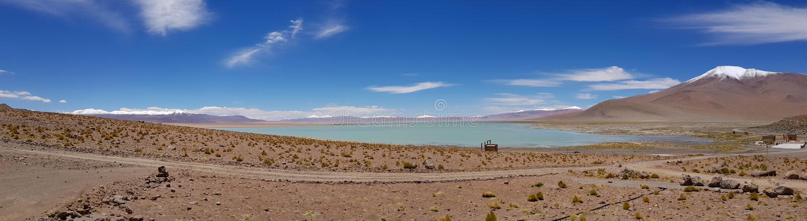View of the Salar de Chalviri near Termas de Polques hot springs, Bolivia. Landscape of the Andean highlands of Bolivia royalty free stock photography