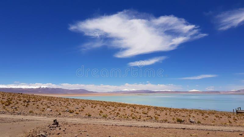View of the Salar de Chalviri near Termas de Polques hot springs, Bolivia. Landscape of the Andean highlands of Bolivia stock photo