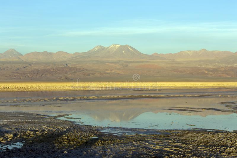 View of salar de Chaxa at sunset stock photo