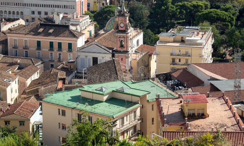 View on Salerno from above stock photo