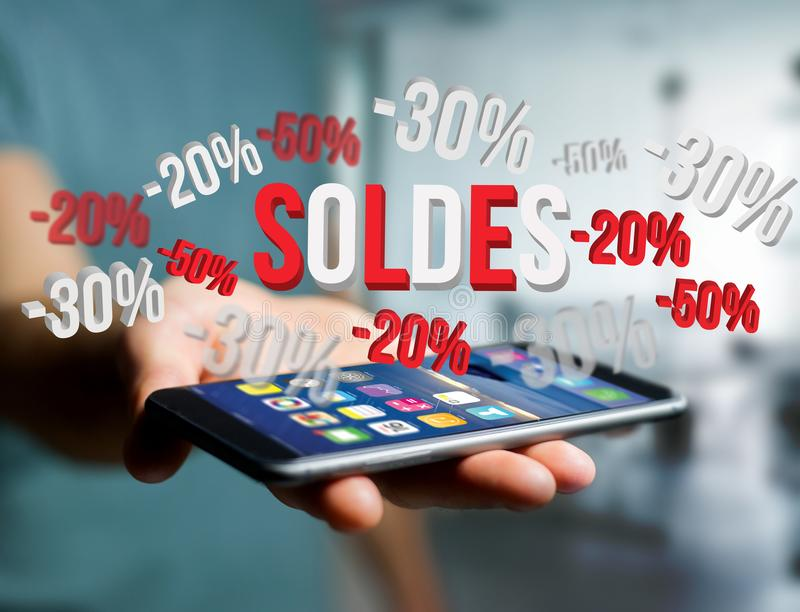 Sales promotion 20% 30% and 50% flying over an interface - Shopping concept stock photos