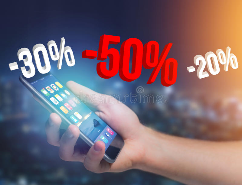 Sales promotion 20% 30% and 50% flying over an interface - Shopping concept stock images