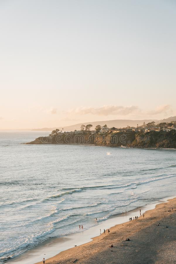 View of Salt Creek Beach and cliffs, in Dana Point, Orange County, California royalty free stock images