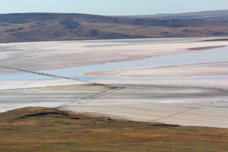 View of the salt lake Chokrak. Crimea royalty free stock image