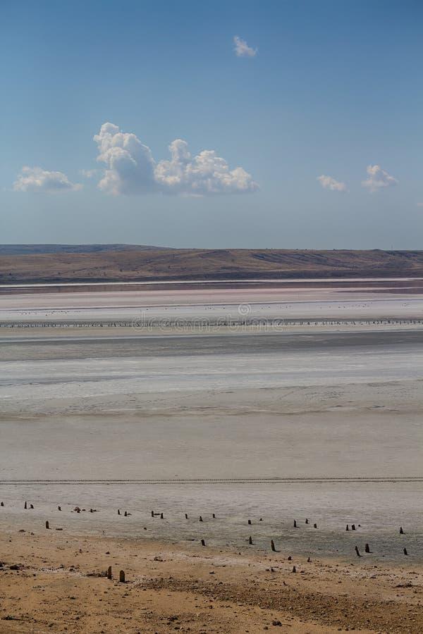 View of the salt lake Chokrak. Crimea stock photo