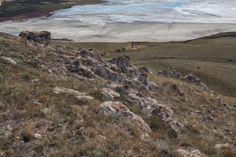 View of the salt lake Chokrak. Crimea royalty free stock photo