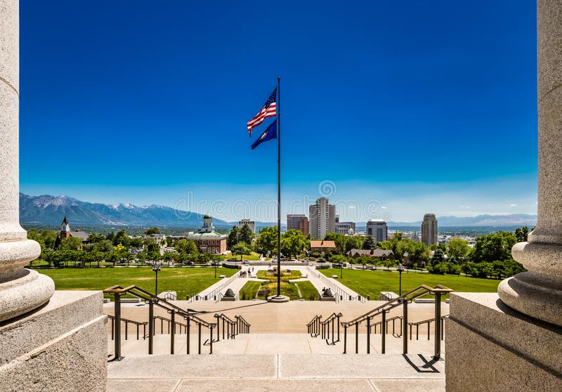 View of Salt Lake City, Utah, from the Steps of the State Capitol Building. View of Salt Lake City and mountains from state capitol on clear summer day stock image