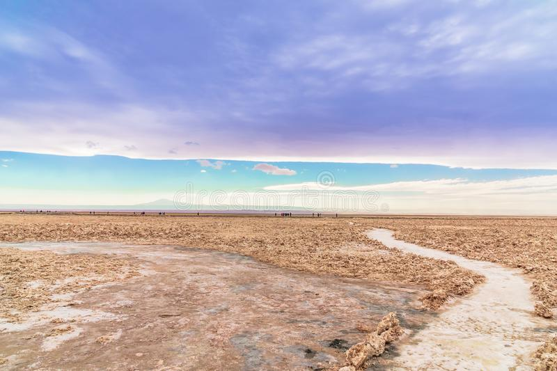 Salt landscape by lagoon Cejar in the desert of Atacama - Chile stock photo