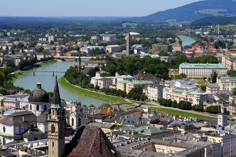 View of Salzburg. Salzburg and its river Salzach royalty free stock images