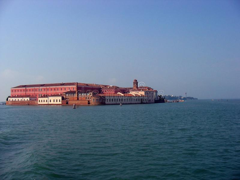 View of San Clemente island in Venetian lagoon stock image