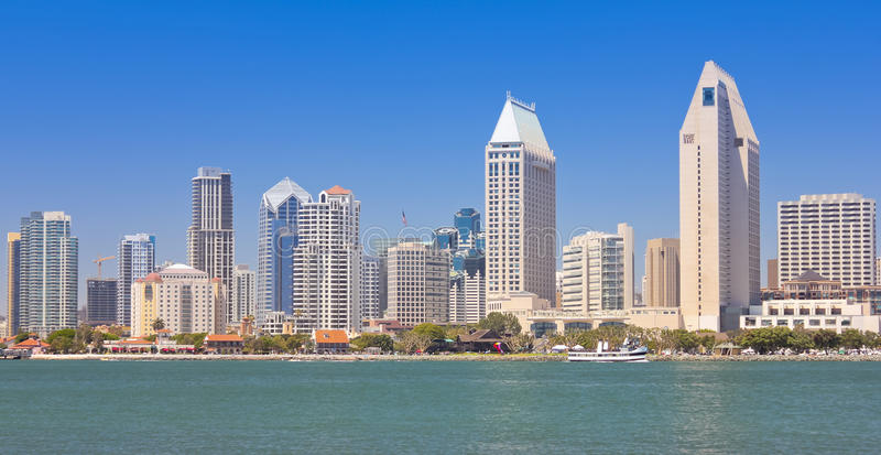 A View of San Diego Bay and Downtown stock images