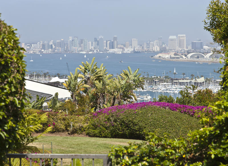View of San Diego california. San Diego California a viewpoint from Point Loma residential backyard stock photography