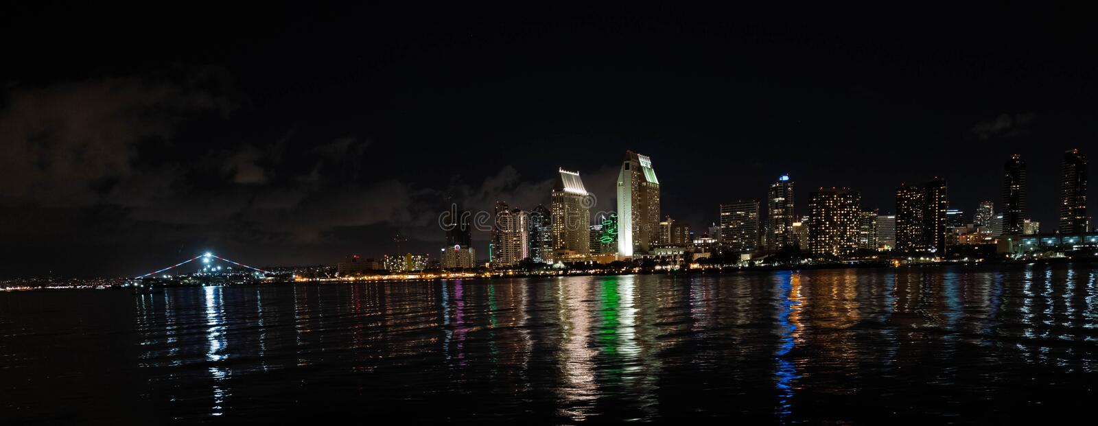 A view of San Diego skyline in the night. stock photo