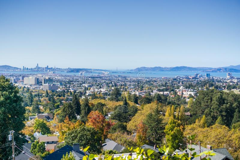 View of the San Francisco bay from a residential area in Oakland stock photo