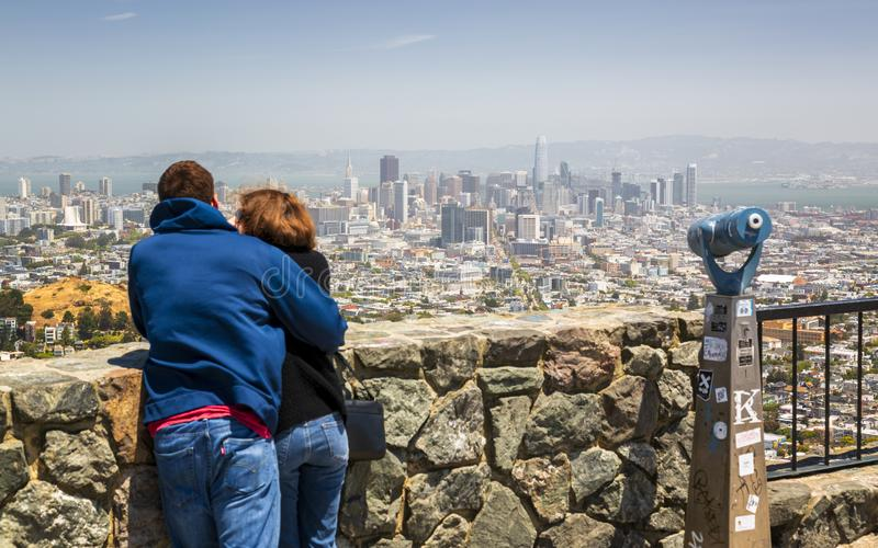 View of San Francisco skyline from Twin Peaks Park, San Francisco, California, USA, North America stock photography