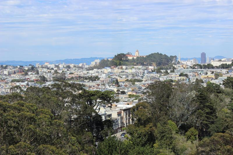 View of San Francisco, California, United Staite of America. Unique colorful houses of in the summer. View of San Francisco on a sunny day California, United royalty free stock photo