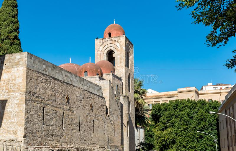 View of San Giovanni degli Eremiti, arab architecture in Palermo, Sicily. Italy royalty free stock images