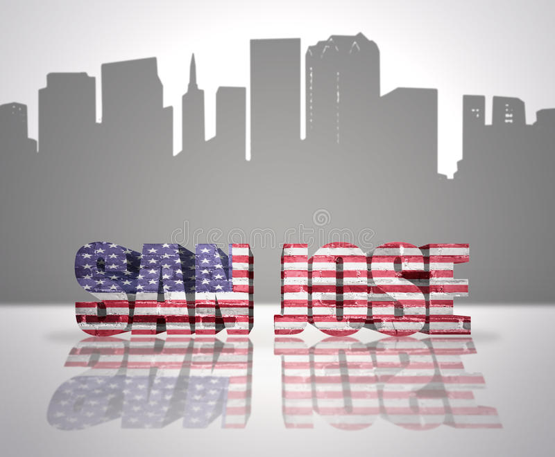 View of San Jose City. Word San Jose with National Flag of USA near skyline silhouette royalty free stock photo