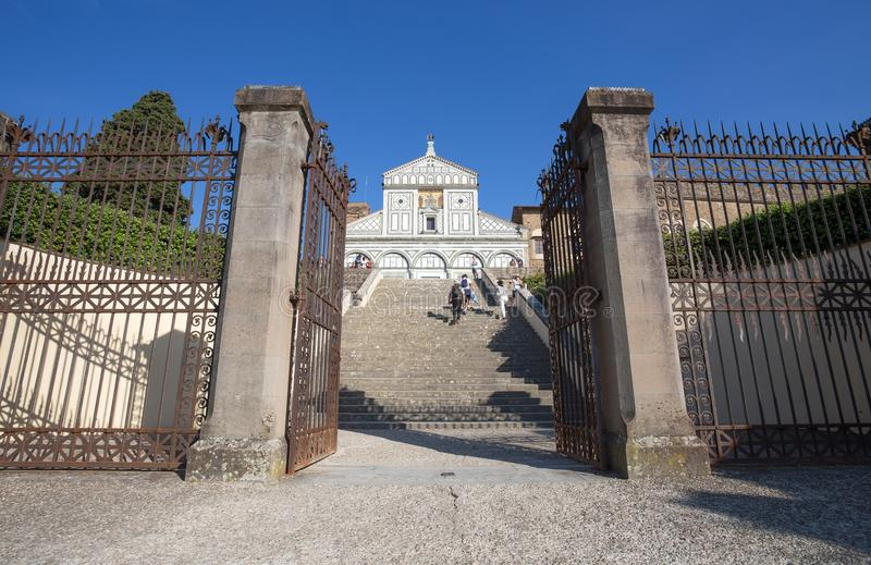 San Miniato al Monte church in Florence Firenze, Tuscany, Italy. royalty free stock images