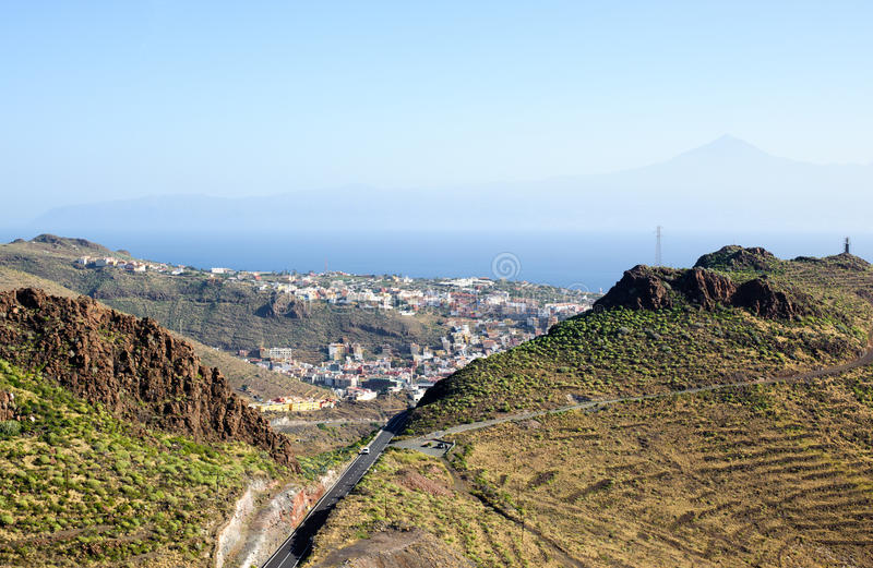 View on San Sebastian la Gomera, and Tenerife with Teide. On the background, Canary Islands, Gomera, San Sebastian , De La Gomera, Spain stock photos