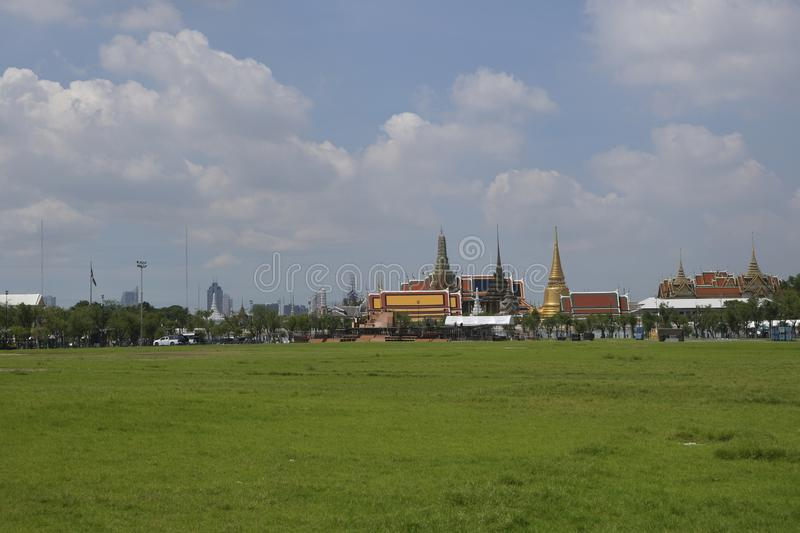 View of Sanam Luang and Wat Phra Kaew royalty free stock photography