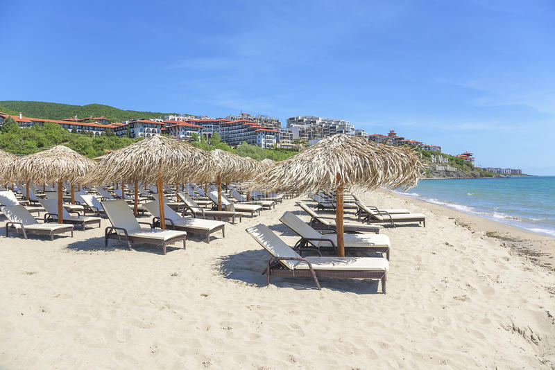 View of the sand beach in tourist complex in Sveti Vlas, Bulgaria. stock images