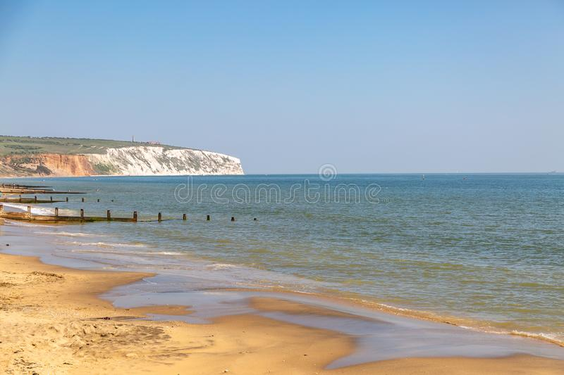 A View from Sandown Beach, Isle of Wight. Looking towards Culver Down and Coastal Cliffs, from Sandown Beach on the Isle of Wight stock images