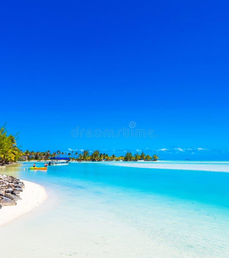 Cook Islands Beaches: View Of The Sandy Beach, Aitutaki Island, Cook Islands