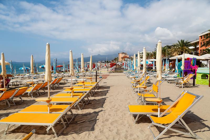 View of sandy beach of Pietra Ligure in the province of La Savona royalty free stock images