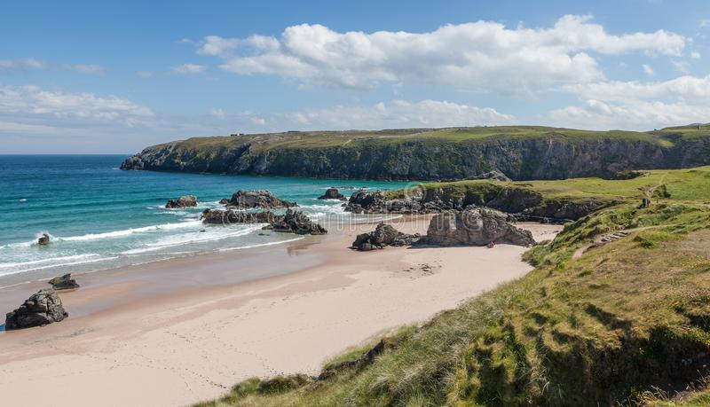 View of the Sango Sands beach in Durness northern Scotland. A sunny summerday in august royalty free stock photography