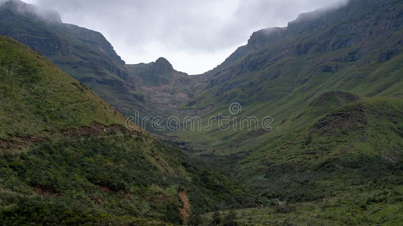 View from the Sani Pass, dirt rural road though the mountains which connects South Africa and Lesotho. royalty free stock photos