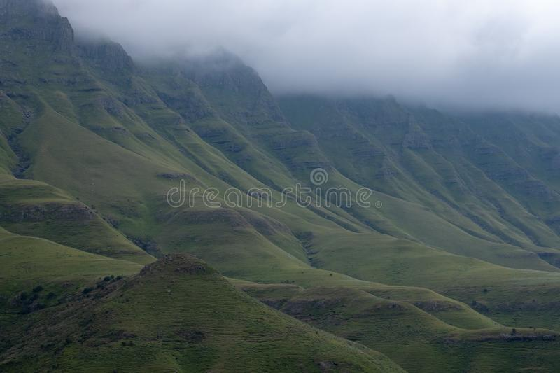 View from the Sani Pass, dirt rural road though the mountains which connects South Africa and Lesotho. royalty free stock image