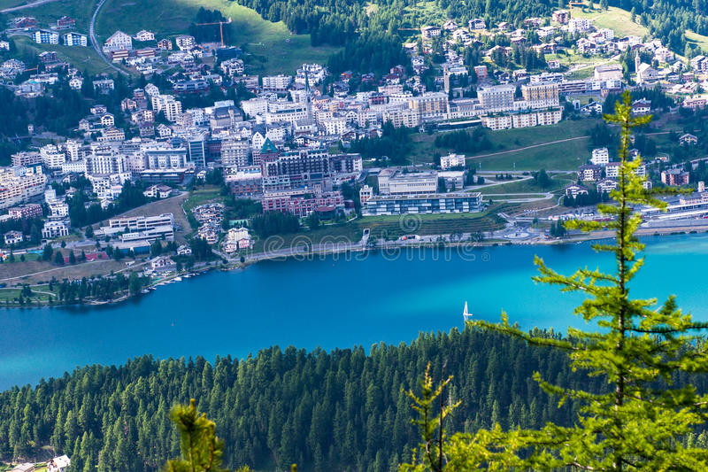 View of Sankt Moritz from above stock images