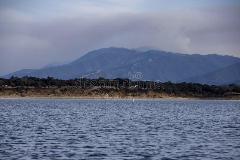 View of the Santa Barbara Cave Fire from Cachuma Lake stock image