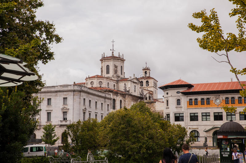 View of Santander cathedral stock photos