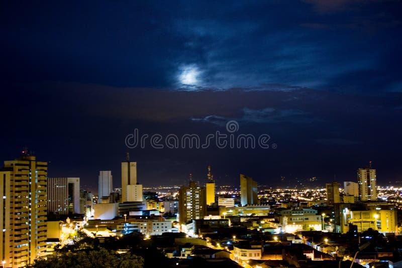 A view of Santiago de Cali, Colombia. A beautiful spot from Cali, Colombia, with a beautiful sky and moon stock photos