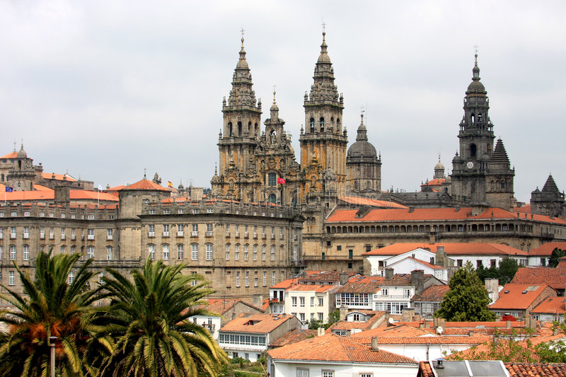 View upon Santiago de Compostela and her cathedral royalty free stock photography