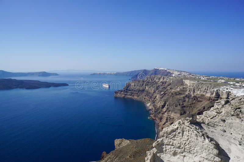 View of Santorini, caldera and the Aegean Sea from Pyrgos Village. stock photo