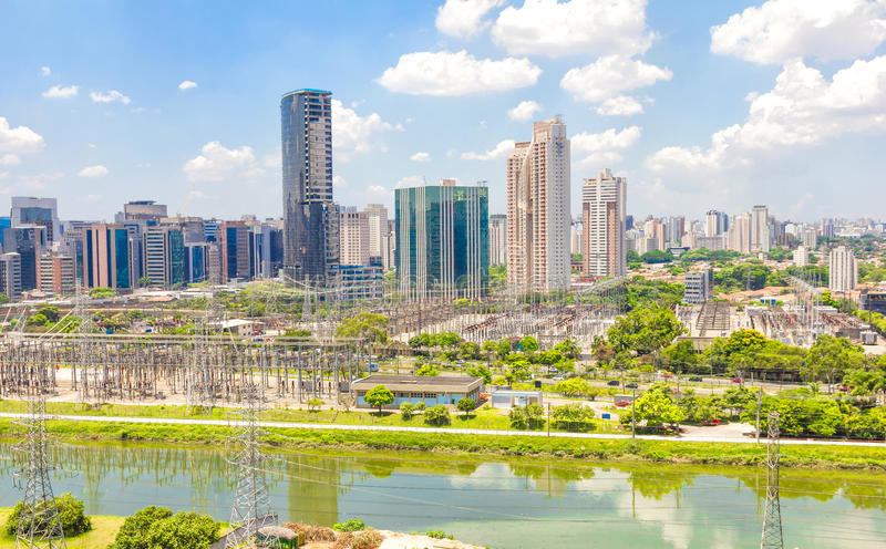 View of Sao Paulo and the river royalty free stock images