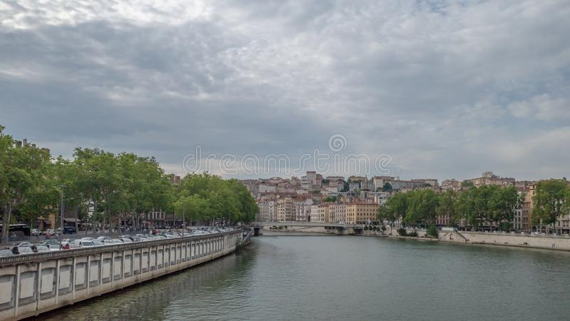 View of Saone River. June 18, 2019 - Lyon, France: View of Saone River in downtown Lyon royalty free stock photography