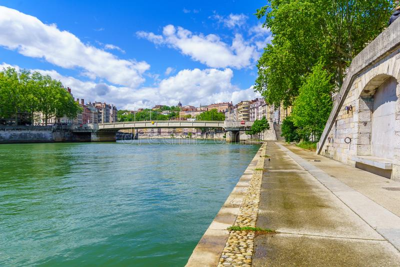 View of the Saone river, in Lyon. France stock photo