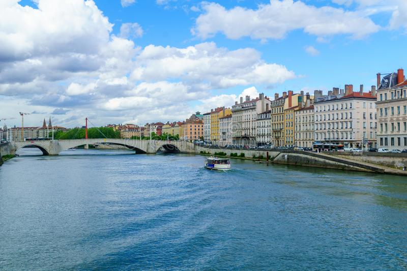 View of the Saone river, in Lyon. France stock photography