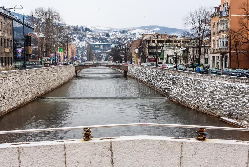 Sarajevo with the Miljacka River. Bosnia Herzegovina stock photo