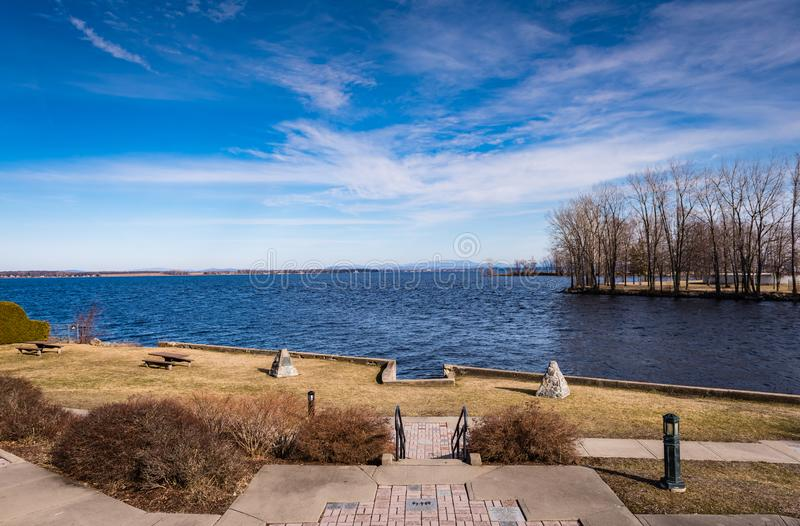 View of Saranac River and Lake Champlain from Plattsburgh, New Y. Lake Champlain is a natural freshwater lake in North America mainly within the borders of the stock photos